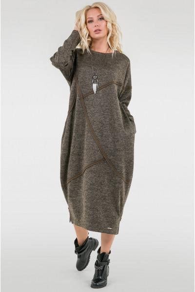 Тепле оригінальне плаття кольору хакі