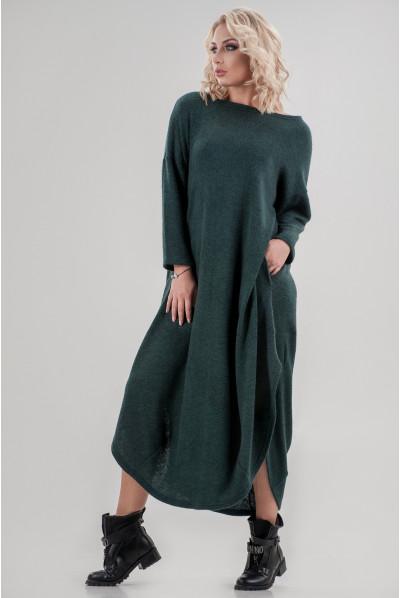 Темно-зелене стильне тепле плаття міді