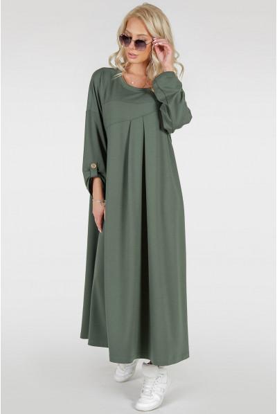 Просторе плаття міді кольору хакі