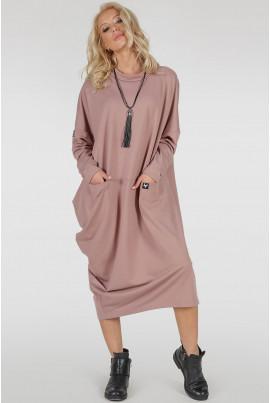 Пудрове модне плаття міді