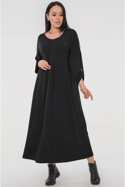 Темно-сіре стильне плаття міді