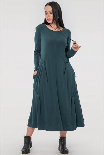 Зелене плаття міді з кишенями