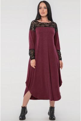 Бордове привабливе плаття з гіпюром