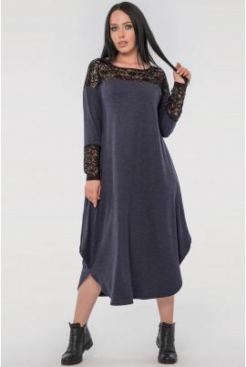 Синє просторе плаття з гіпюром