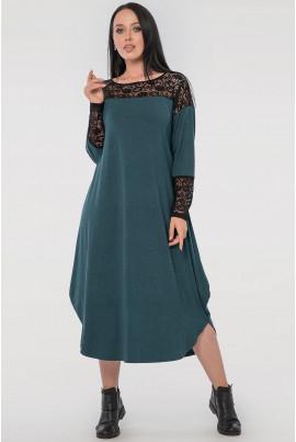 Зелене нарядне плаття оверсайз з гіпюром