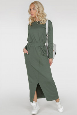 Оригінальне довге плаття кольору хакі