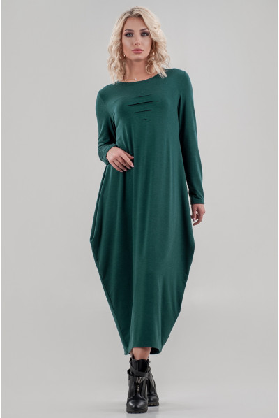 Смарагдове стильне плаття-балахон