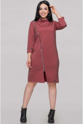 Пудрове осіннє плаття з італійського трикотажу