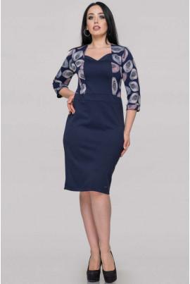 Синє осіннє плаття-футляр для повних жінок