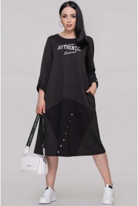 Чорне стильне плаття міді для повних жінок