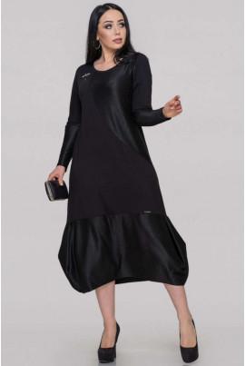 Чорне оригінальне плаття міді для повних жінок