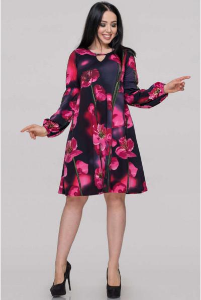 Нарядне плаття з малиновим принтом для повних жінок