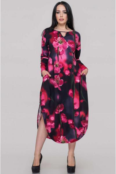 Нарядне вишукане плаття великих розмірів з малиновим принтом