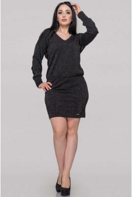 Чорне осіннє трикотажне плаття міні