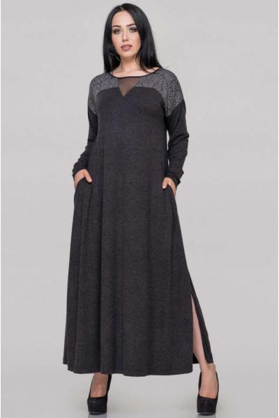 Темно-сіре нарядне плаття великих розмірів
