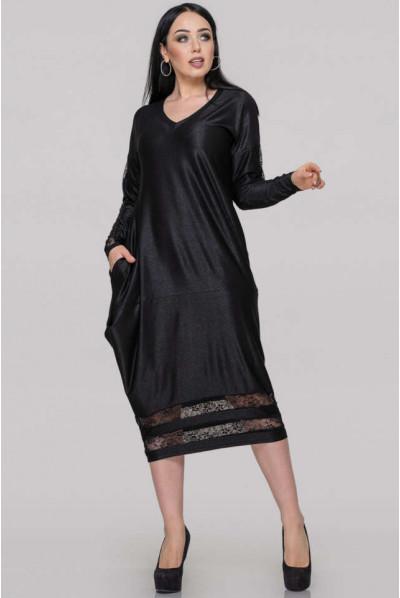 Чорне неординарне плаття для дівчат з апетитними формами