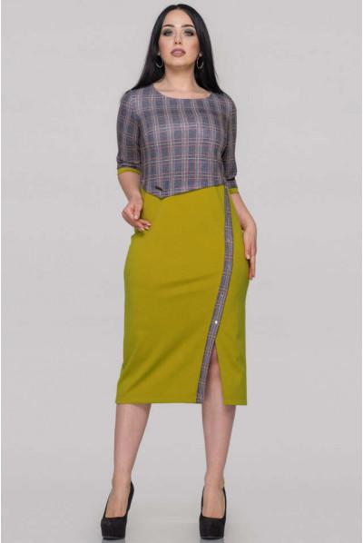 Гірчично-оливкове плаття для повних жінок