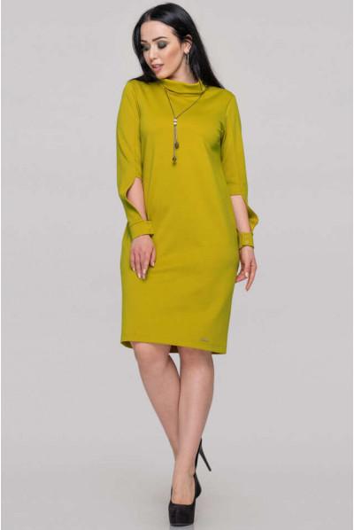 Гірчично-оливкове плаття з італійського трикотажу