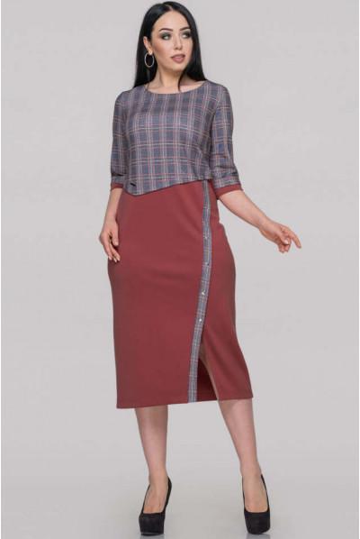 Темно-пудрове плаття-футляр для повних жінок