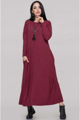 Бордове просторе осіннє плаття великих розмірів