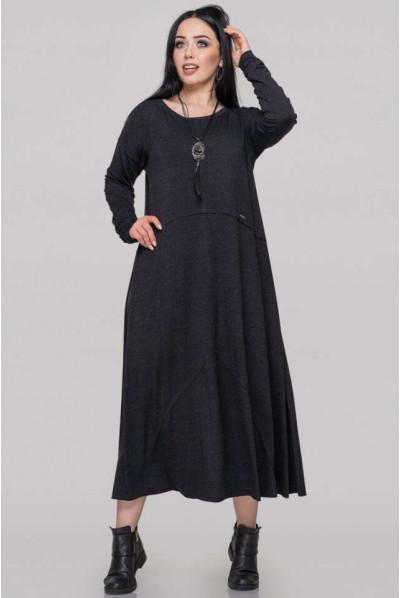 Темно-сіре жіночне плаття для повних жінок