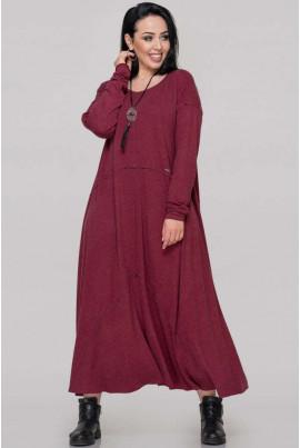 Бордове повсякденне плаття для жінок з апетитними формами