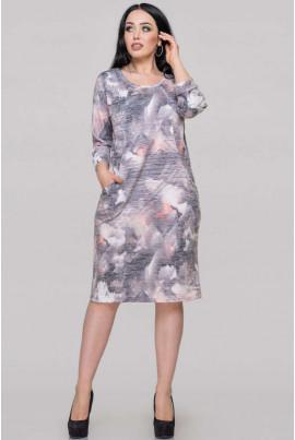 Сіре плаття міді з принтом для повних жінок