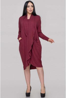 Бордова сукня-туніка для повних жінок