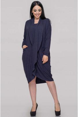 Синя стильна сукня-туніка великих розмірів