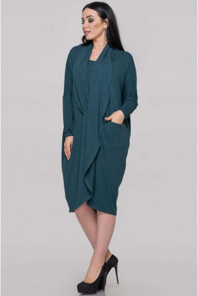 Зелена жіночна сукня-туніка великих розмірів