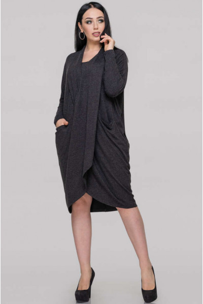 Темно-сіре плаття-туніка для повних жінок