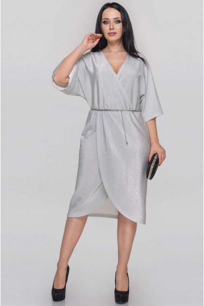 Сріблясте нарядне плаття на запах для жінок з апетитними формами