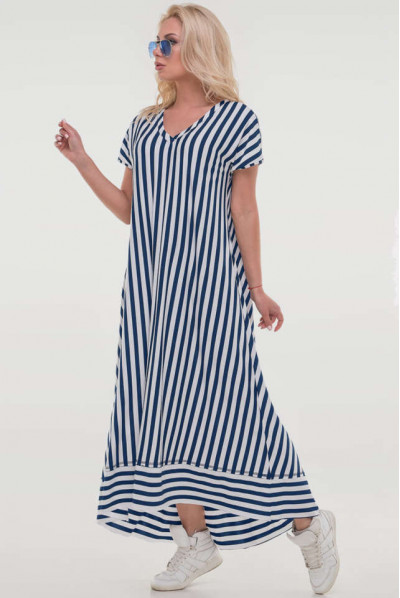 Біло-синє легке плаття максі в смужку