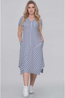 Смугасте оригінальне плаття міді джинсового кольору
