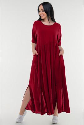 Червоне просторе довге плаття-балахон великих розмірів
