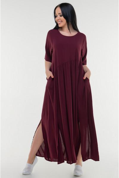 Оригінальне літнє жіноче плаття кольору марсала