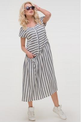 Сіре легке практичне плаття міді в білу смужку