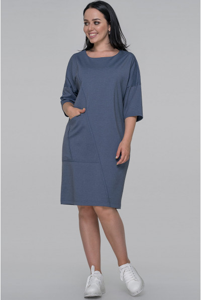 Трикотажне просторе плаття джинсового кольору