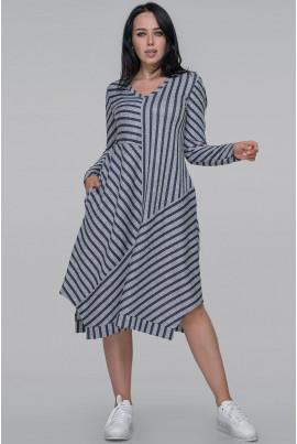 Сіре стильне плаття-трапеція в синю смужку