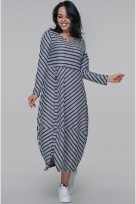 Сіро-синє просторе плаття міді для повних жінок