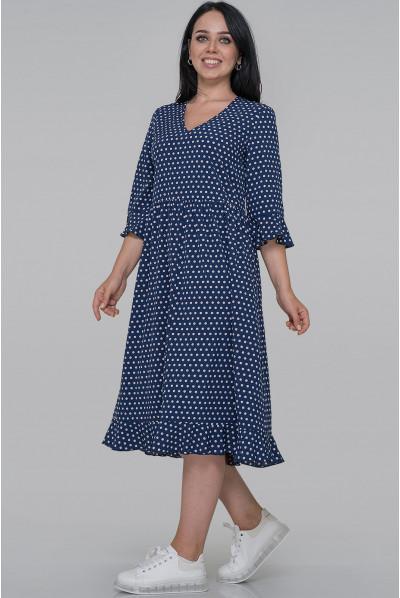 Синє плаття в горох великих розмірів