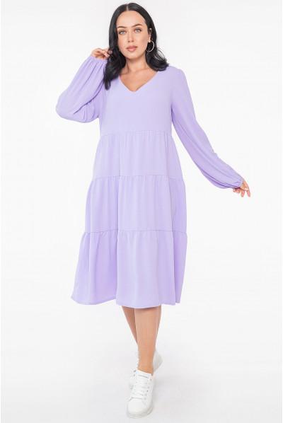 Лавандова грайлива повсякденна сукня міді великих розмірів