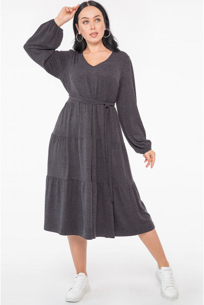 Темно-сіра витончена сукня міді з багатоярусною спідницею