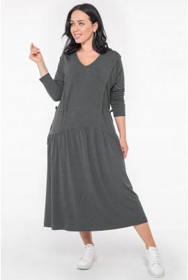 Темно-сіра жіноча сукня міді з куліскою
