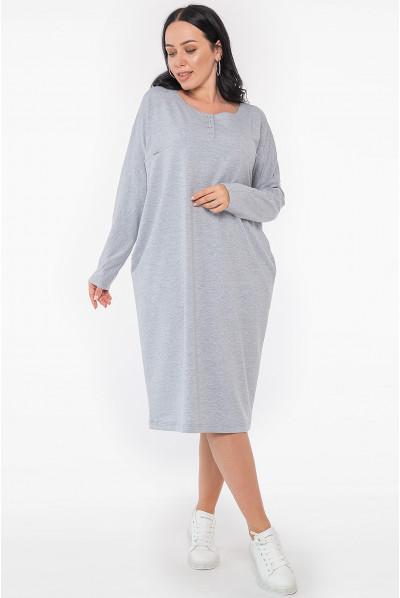 Світло-сіра повсякденна сукня міді оверсайз