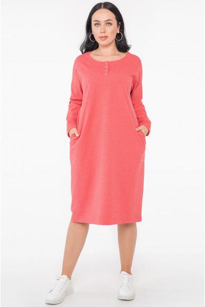 Коралова трендова сукня з кишенями
