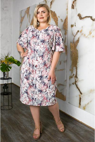 Літнє плаття для повних з софту біло-рожеве