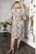Літнє плаття для повних з софту біло-гірчичне